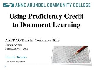 Using Proficiency Credit to Document Learning