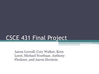 CSCE 431 Final Project