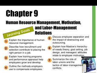 Chapter 9 Human Resource Management, Motivation,  			and Labor-Management  			Relations