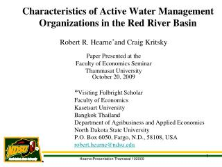 Characteristics of Active Water Management Organizations in the Red River Basin