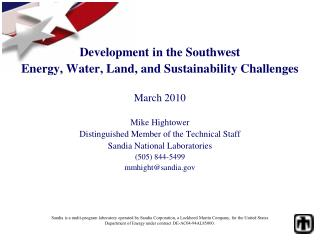 Development in the Southwest Energy, Water, Land, and Sustainability Challenges March 2010