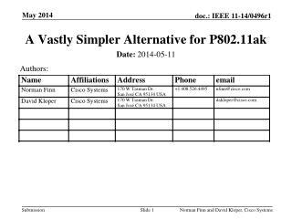 A Vastly Simpler  Alternative for P802.11ak