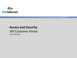 Access and Security VIP Customer Portal Justin Mc Neice