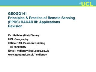 GEOGG141 Principles & Practice of Remote Sensing (PPRS) RADAR III: Applications Revision