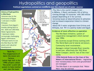 Hydropolitics  and geopolitics