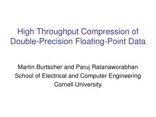High Throughput Compression of Double-Precision Floating-Point Data
