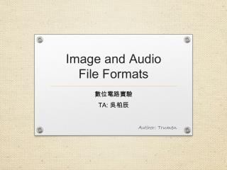 Image and Audio  File Formats