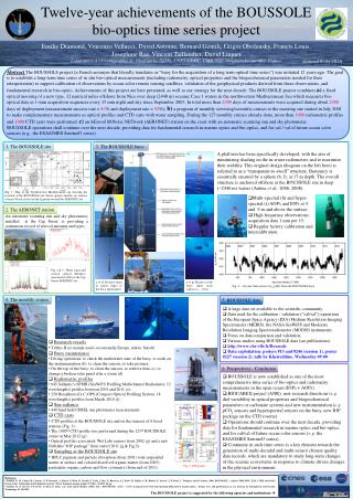 Twelve-year achievements of the BOUSSOLE bio-optics time series project