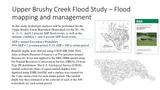 Upper Brushy Creek Flood Study – Flood mapping and management
