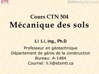 Cours CTN 504  Mécanique des sols