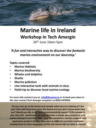 Marine life in Ireland Workshop in Tech  Amergin 26 th  June 10am-5pm