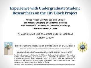 Experience with Undergraduate Student Researchers on the City Block Project
