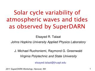 Solar cycle variability of atmospheric waves and tides as observed by SuperDARN