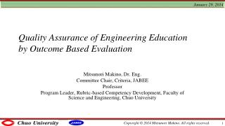 Quality Assurance of Engineering  Education by Outcome  Based Evaluation