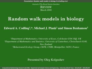 Presentation: Random walk models in biology E.A.Codling et al.