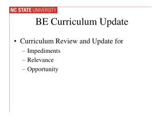 BE Curriculum  Update