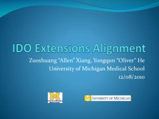 IDO Extensions Alignment