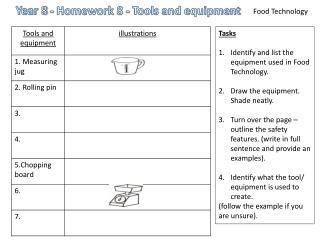Year 8 - Homework 8 - Tools and equipment