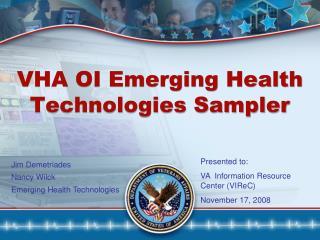 VHA OI Emerging Health Technologies Sampler