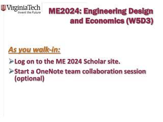 ME2024: Engineering Design and Economics (W5D3)