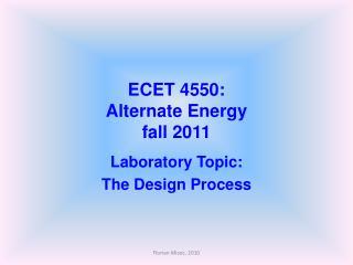ECET 4550: Alternate Energy fall 2011