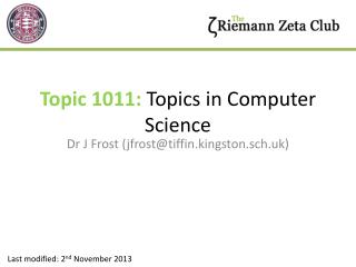 Topic 1011:  Topics in Computer Science
