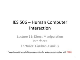 IES  506 – Human Computer Interaction