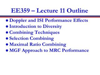 EE359 � Lecture 11 Outline