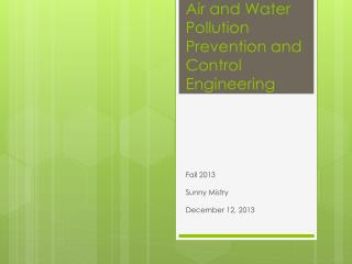 Air and Water Pollution Prevention and Control Engineering
