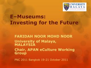 E�Museums :  Investing  for the Future