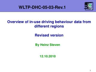 Overview of in-use driving behaviour data from different regions Revised version
