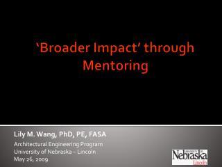 'Broader Impact' through Mentoring