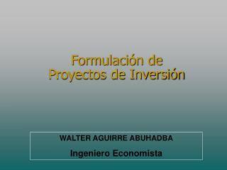 Formulaci n de  Proyectos de Inversi n