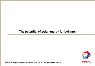 The potential of solar energy for Lebanon