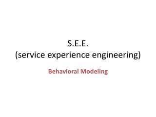 S.E.E. (service experience engineering)