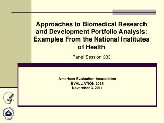 American Evaluation Association EVALUATION 2011 November 3, 2011
