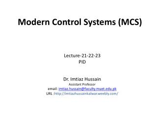 Modern  Control  Systems (MCS)