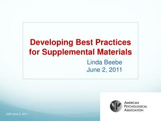 Developing Best Practices for Supplemental Materials