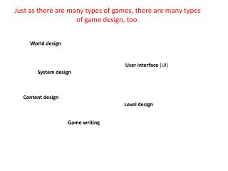 Just as there are many types of games, there are many types of game design, too .
