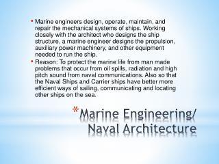 Marine Engineering/ Naval Architecture