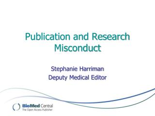 Publication and Research Misconduct