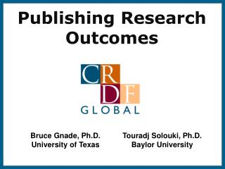 Publishing Research Outcomes