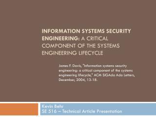 Kevin Behr SE 516 – Technical Article Presentation