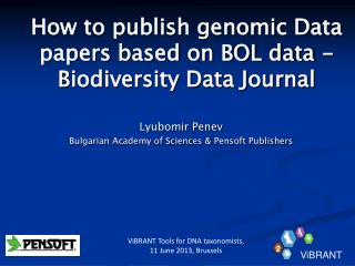 How to publish genomic Data papers based on BOL data - Biodiversity Data Journal