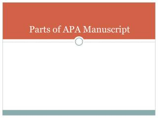 Parts of APA Manuscript