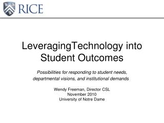 LeveragingTechnology into Student Outcomes