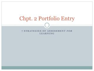 Chpt . 2 Portfolio Entry