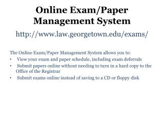 Online Exam/Paper Management System