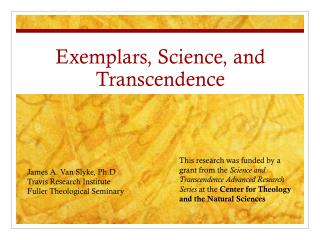 Exemplars, Science, and Transcendence