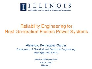 Reliability Engineering for Next Generation Electric Power Systems